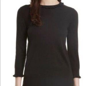 KATE SPADE crew sweater with ruffle. Black Large